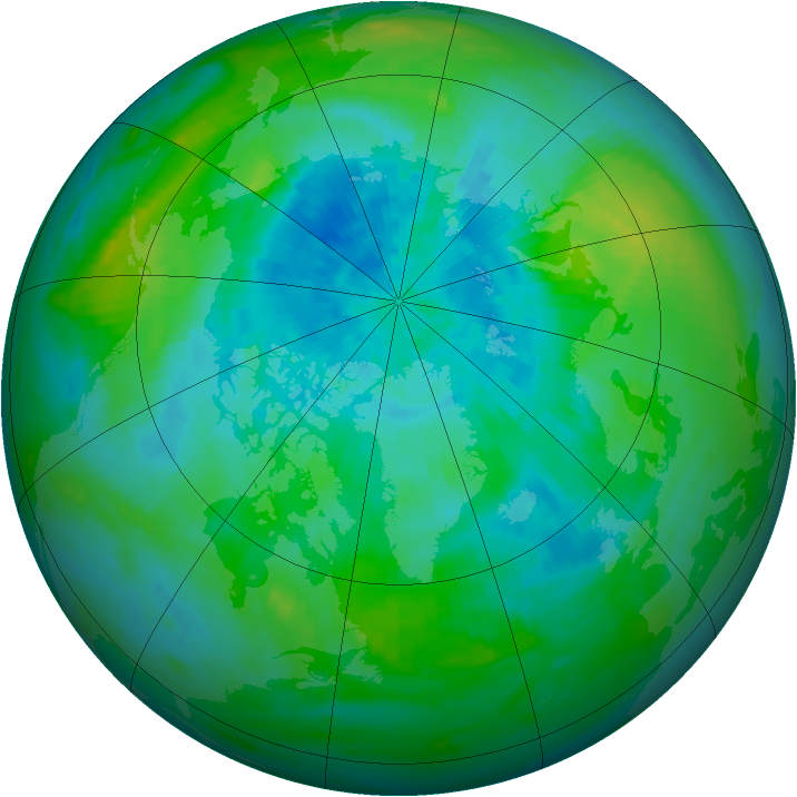 Arctic ozone map for 11 September 1991