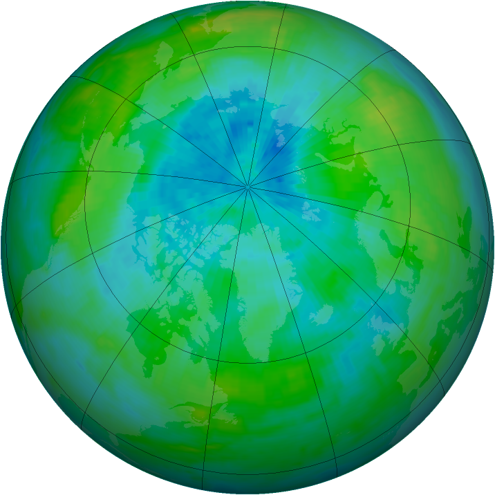 Arctic ozone map for 12 September 1991