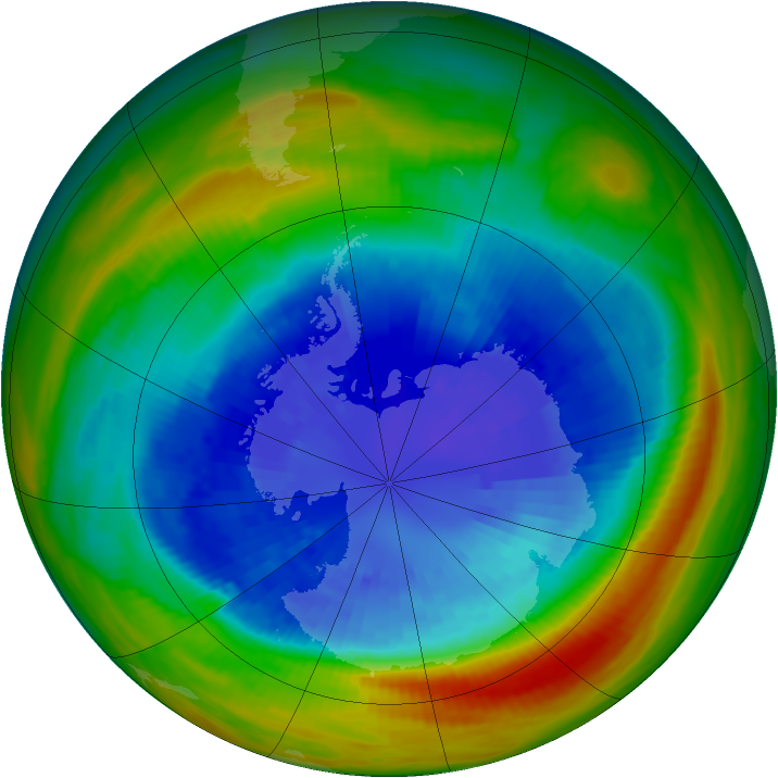 Antarctic ozone map for 13 September 1991