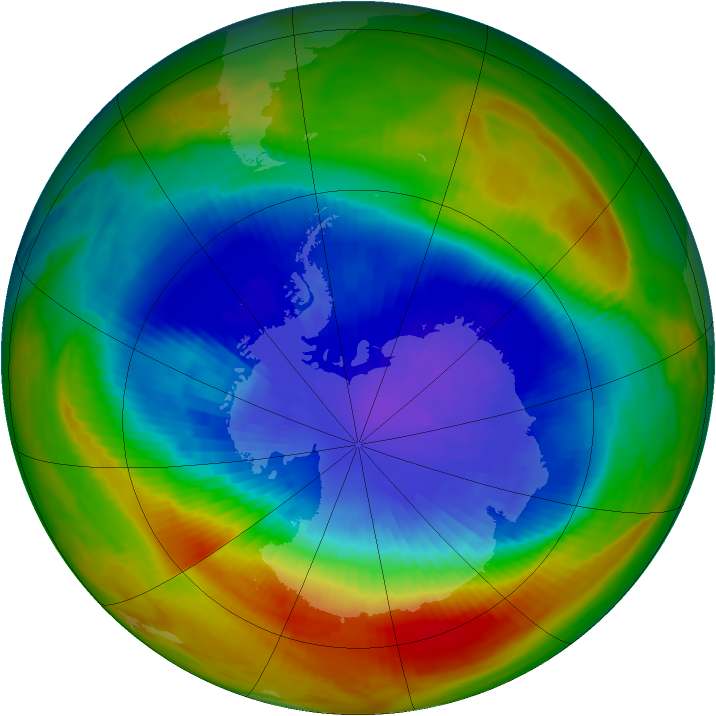 Antarctic ozone map for 16 September 1991