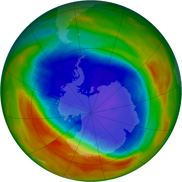Antarctic ozone map for 18 September 1991