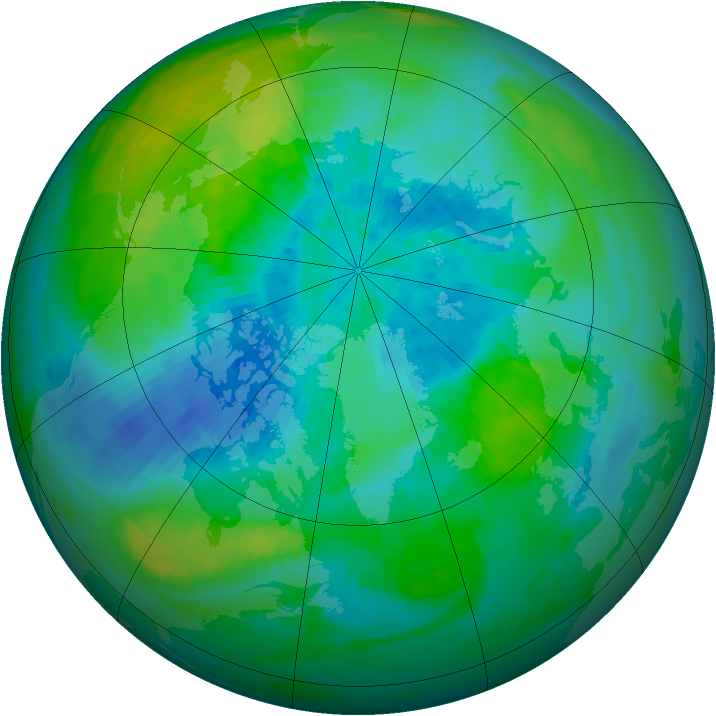 Arctic ozone map for 19 September 1991