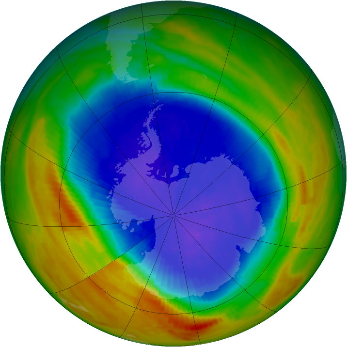 Antarctic ozone map for 19 September 1991
