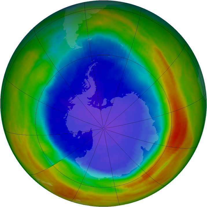 Antarctic ozone map for 22 September 1991