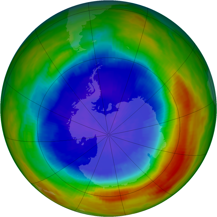 Antarctic ozone map for 24 September 1991