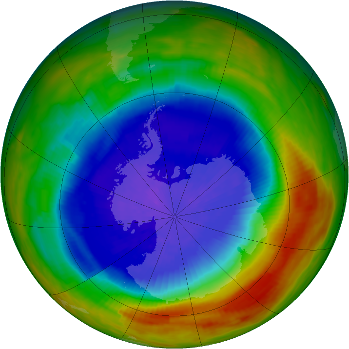 Antarctic ozone map for 25 September 1991