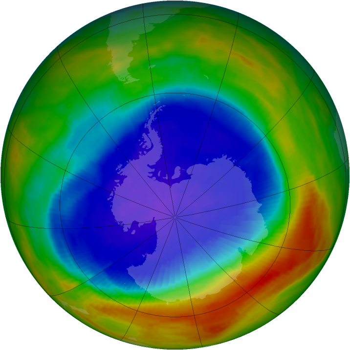Antarctic ozone map for 26 September 1991