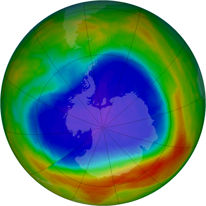 Antarctic ozone map for 27 September 1991