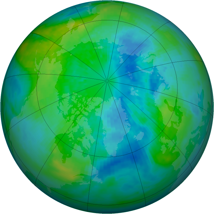 Arctic ozone map for 28 September 1991
