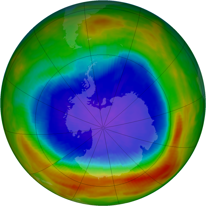 Antarctic ozone map for 28 September 1991