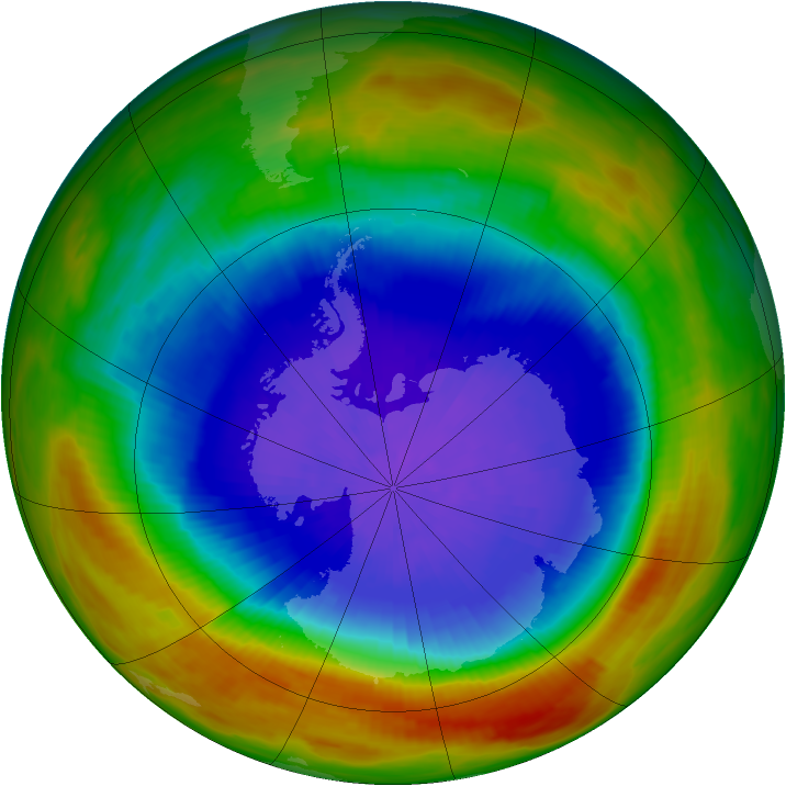 Antarctic ozone map for 29 September 1991