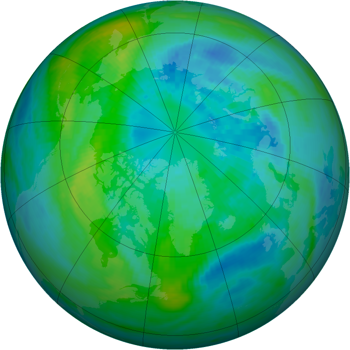 Arctic ozone map for 01 October 1991