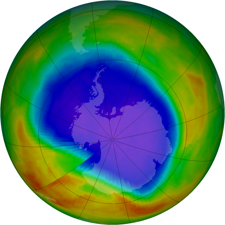 Antarctic ozone map for 02 October 1991