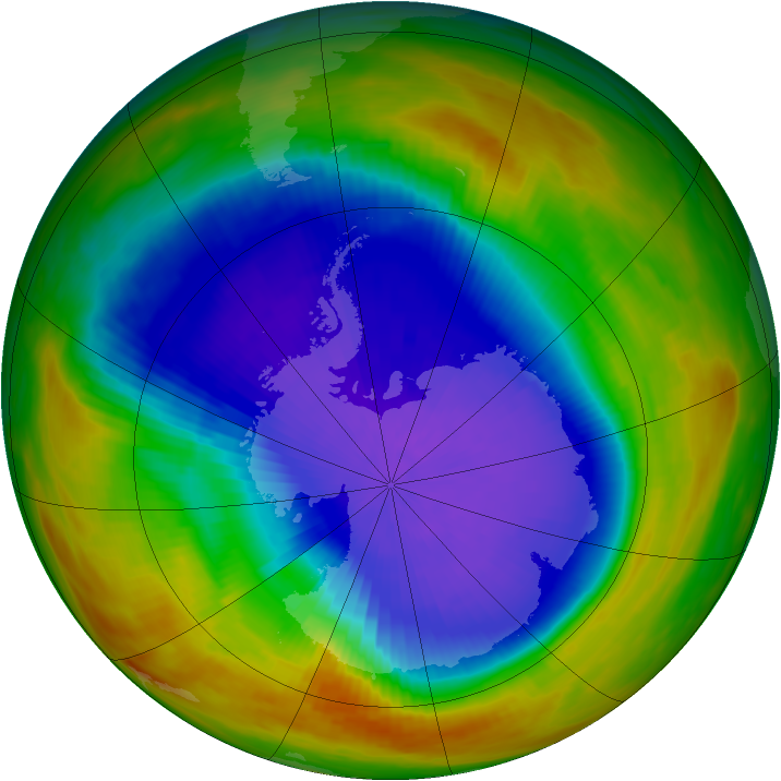 Antarctic ozone map for 03 October 1991