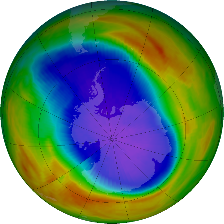 Antarctic ozone map for 04 October 1991