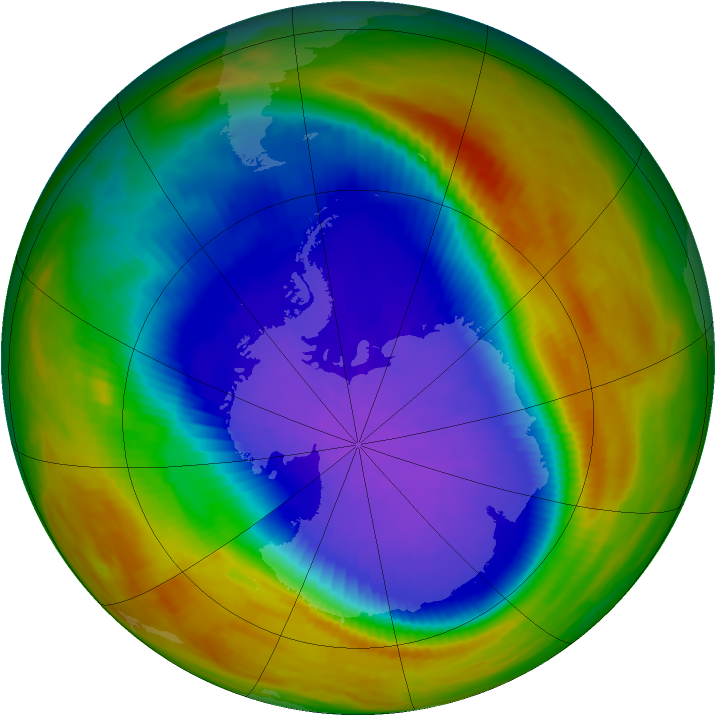 Antarctic ozone map for 05 October 1991