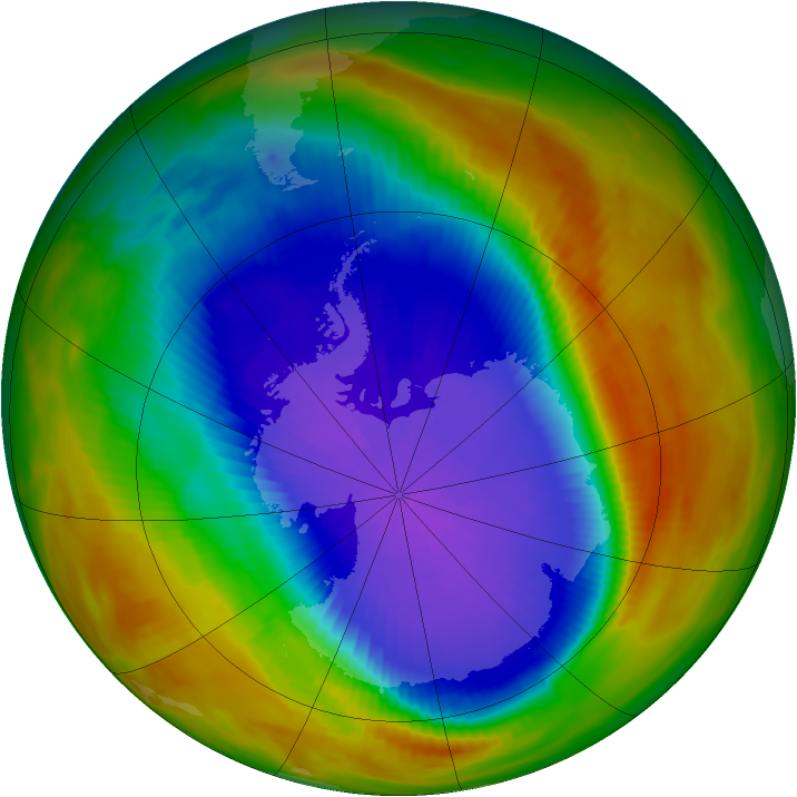 Antarctic ozone map for 06 October 1991