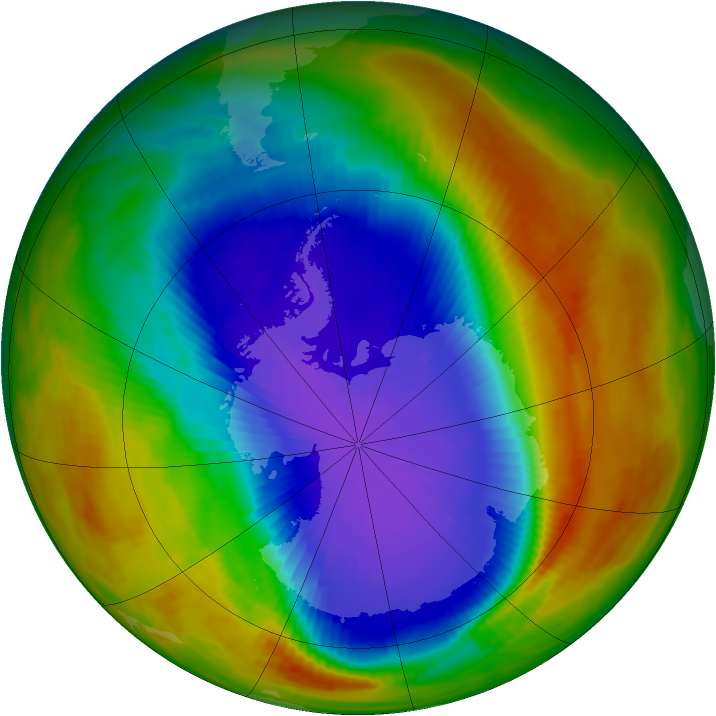 Antarctic ozone map for 07 October 1991