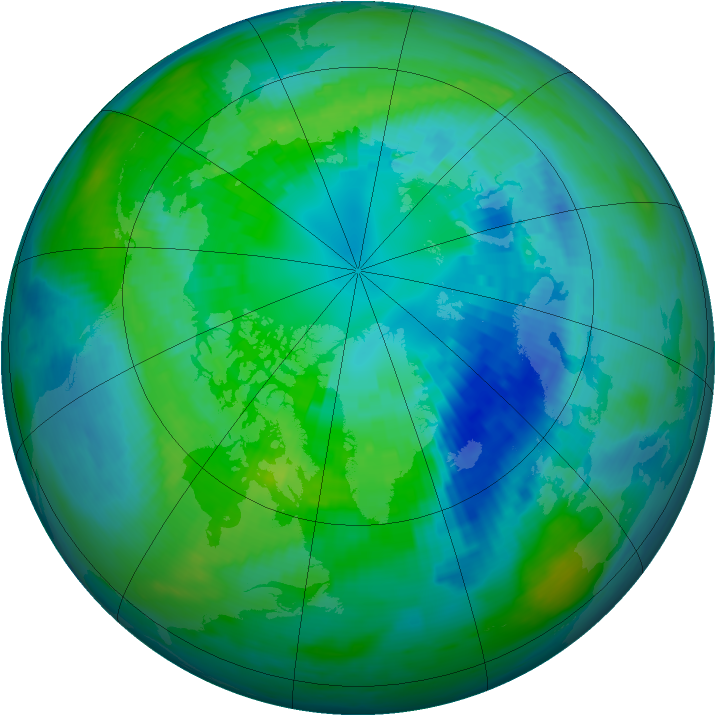 Arctic ozone map for 10 October 1991