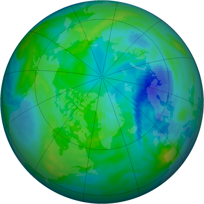 Arctic ozone map for 11 October 1991