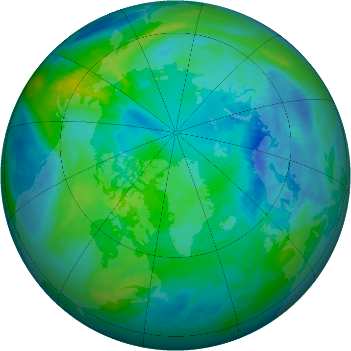 Arctic ozone map for 13 October 1991