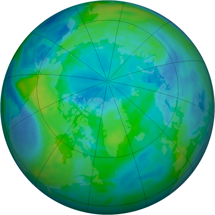 Arctic ozone map for 15 October 1991