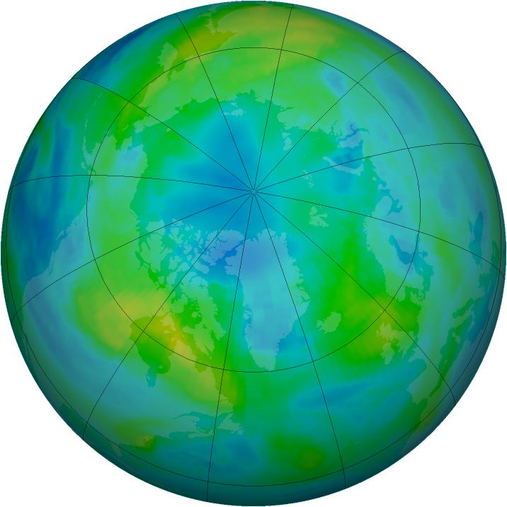 Arctic ozone map for 17 October 1991