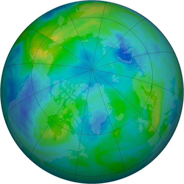 Arctic ozone map for 19 October 1991