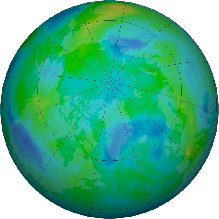 Arctic ozone map for 21 October 1991