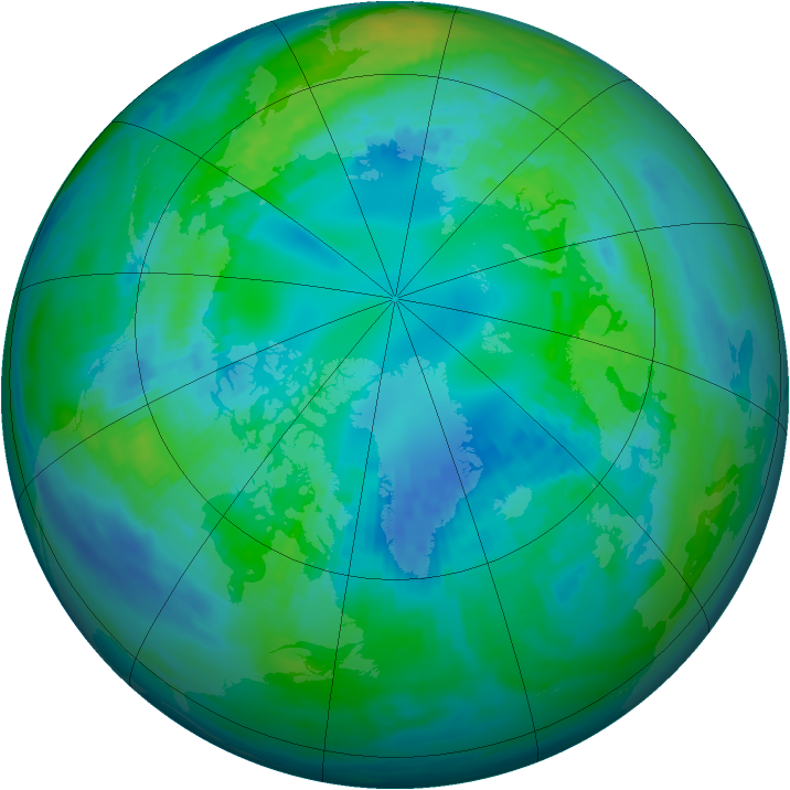 Arctic ozone map for 22 October 1991