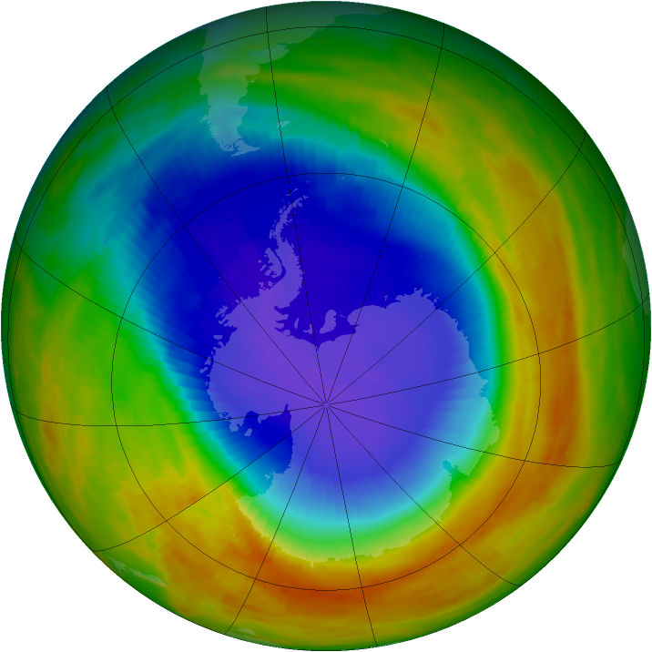 Antarctic ozone map for 22 October 1991