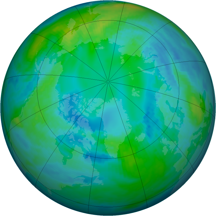 Arctic ozone map for 26 October 1991
