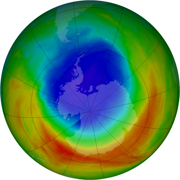 Antarctic ozone map for 27 October 1991