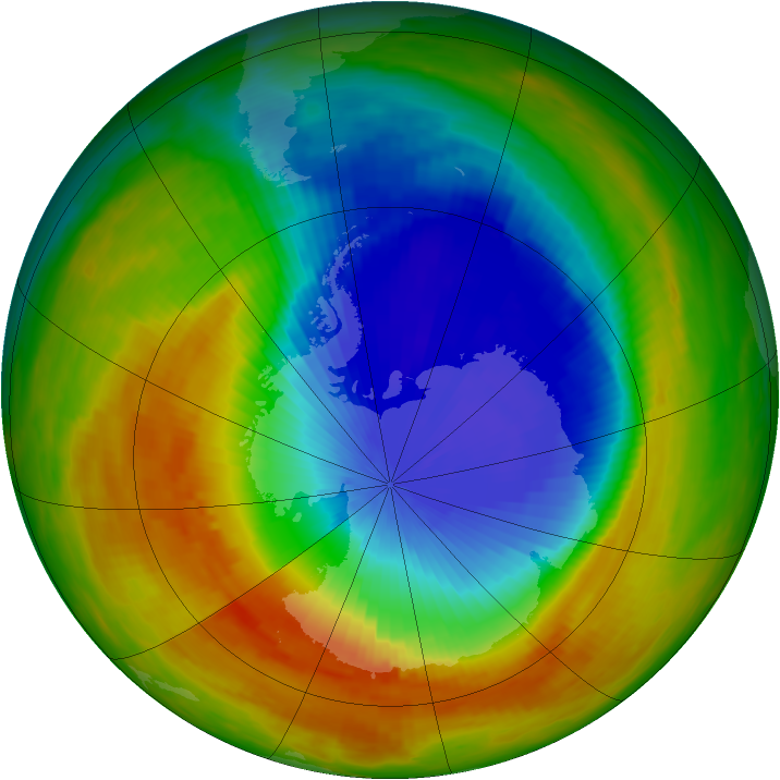 Antarctic ozone map for 30 October 1991