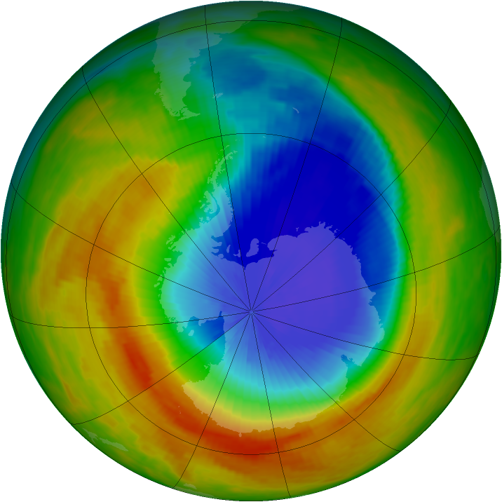 Antarctic ozone map for 31 October 1991