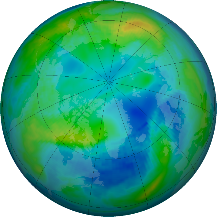 Arctic ozone map for 01 November 1991