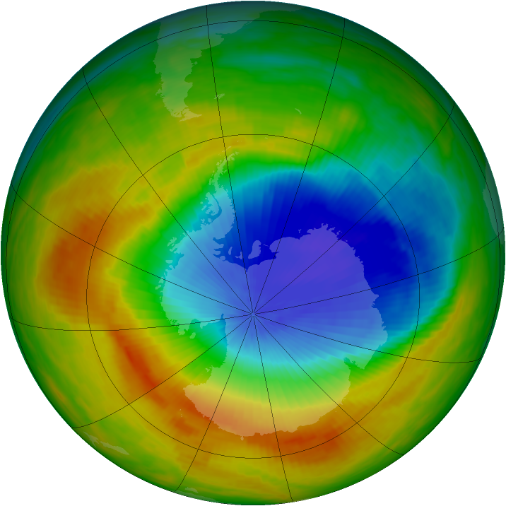 Antarctic ozone map for 05 November 1991