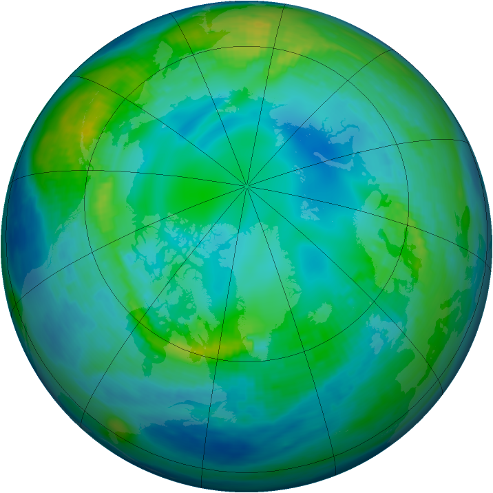 Arctic ozone map for 10 November 1991