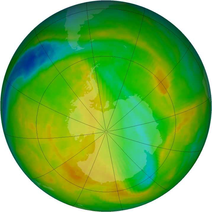 Antarctic ozone map for 21 November 1991