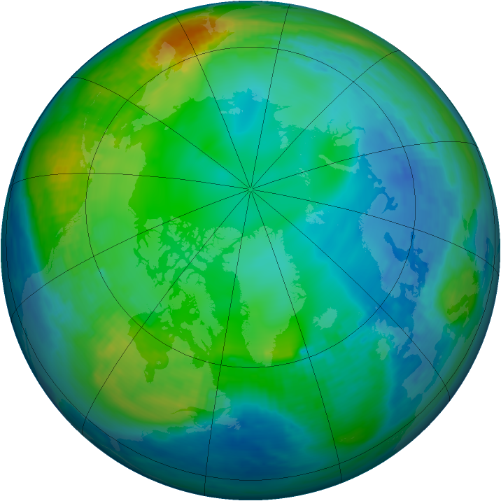 Arctic ozone map for 25 November 1991