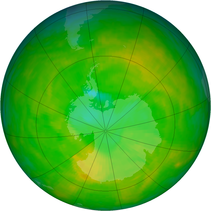 Antarctic ozone map for 01 December 1991