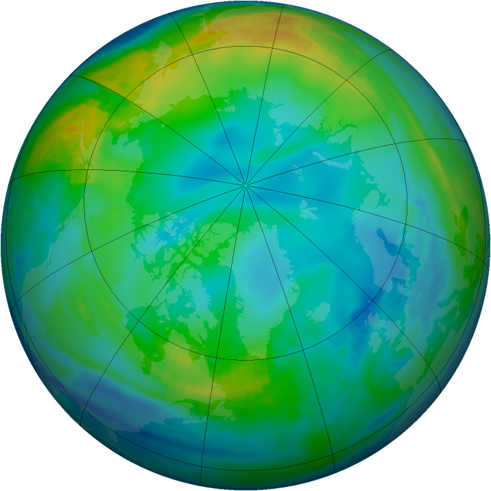 Arctic ozone map for 02 December 1991