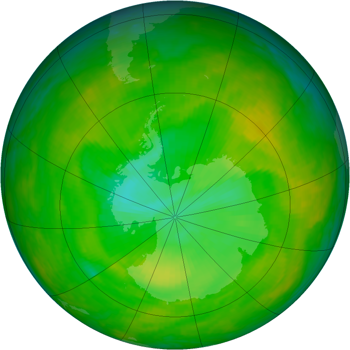Antarctic ozone map for 04 December 1991