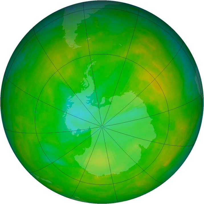 Antarctic ozone map for 05 December 1991