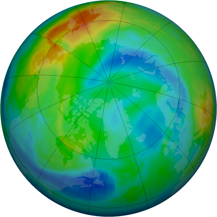 Arctic ozone map for 09 December 1991