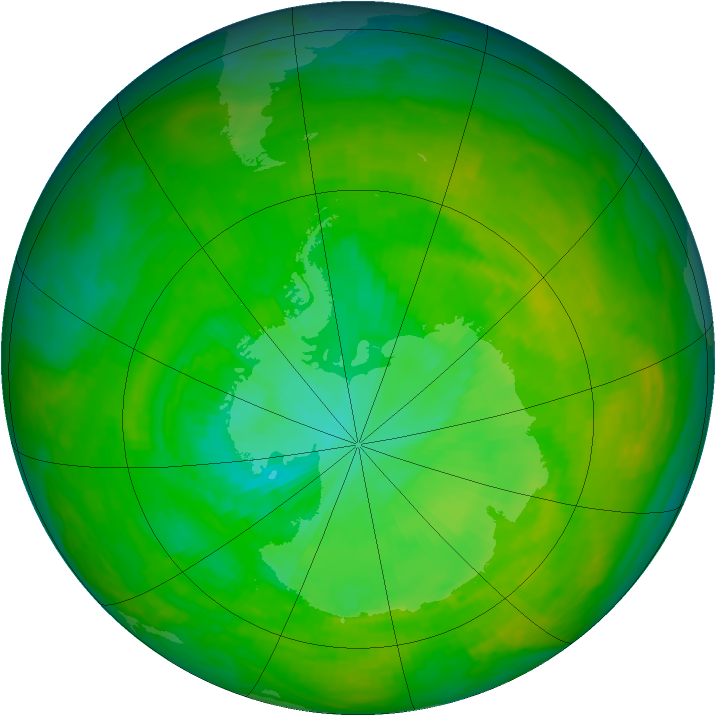 Antarctic ozone map for 09 December 1991