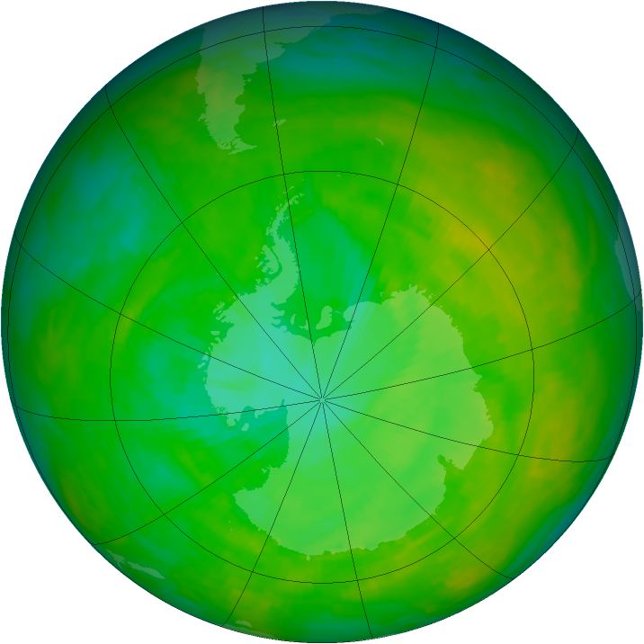 Antarctic ozone map for 10 December 1991