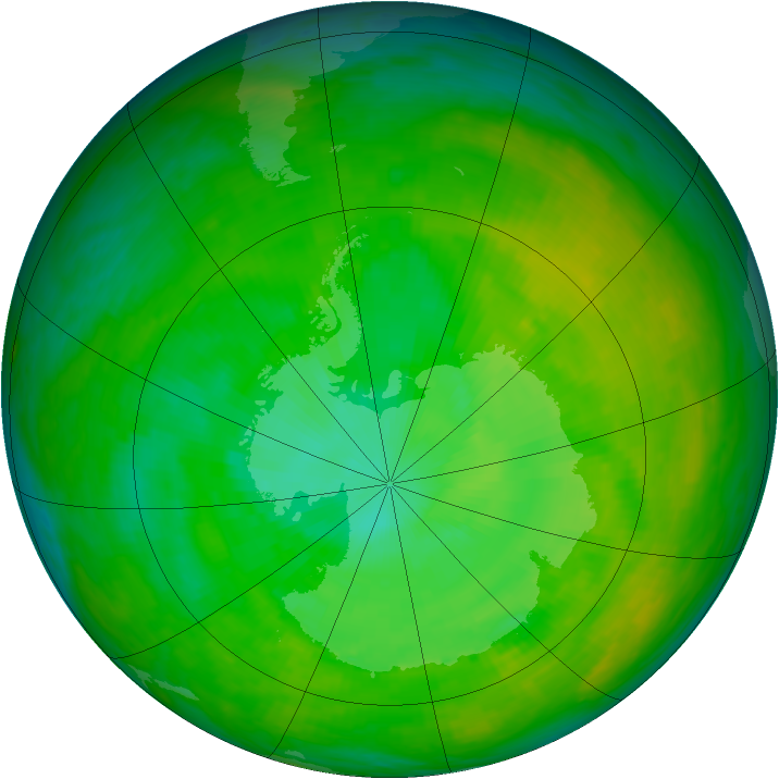 Antarctic ozone map for 11 December 1991