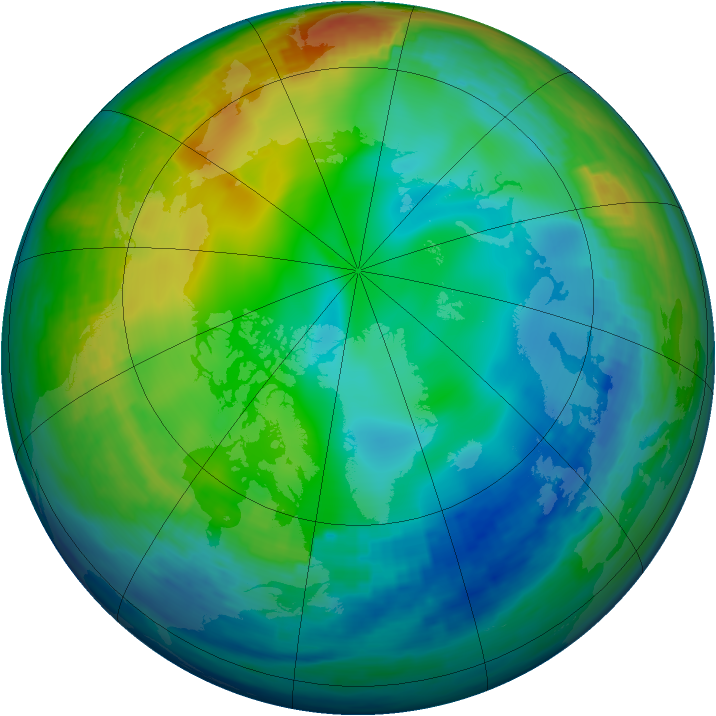 Arctic ozone map for 12 December 1991