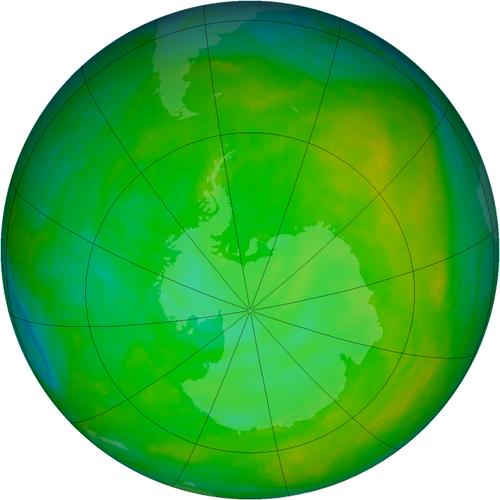 Antarctic ozone map for 13 December 1991